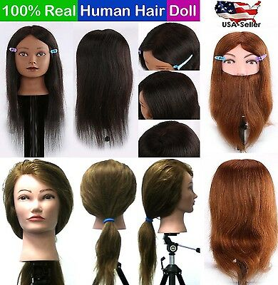 Cosmetology Training Head 100% Real Human Hair Mannequin Hairdressing Doll #USA