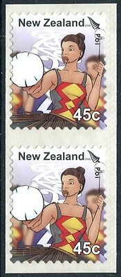 New Zealand 2006 UNISSUED Kapa Haka 45-cent Coil Pair, MNH fine and most RARE
