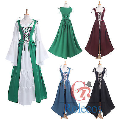 Women Renaissance Medieval Irish Fair Pirate Peasant Bodice Costume Over Dress