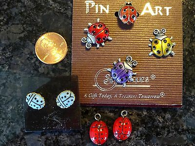 Lady Bug Jewelry Lot Earrings Pins New Pin Art Avon Tack CUTE Ladybug Good Luck!