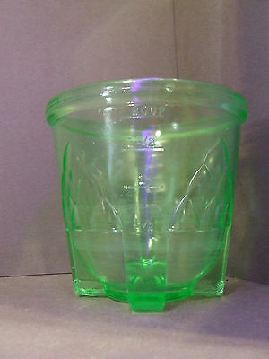 Vintage Green Vaseline Measuring Cup Usa Collectable Footed Egg Beater Bottom