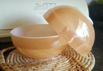 2  Fire King Peach Lustre Serving Bowls Marching 15cm