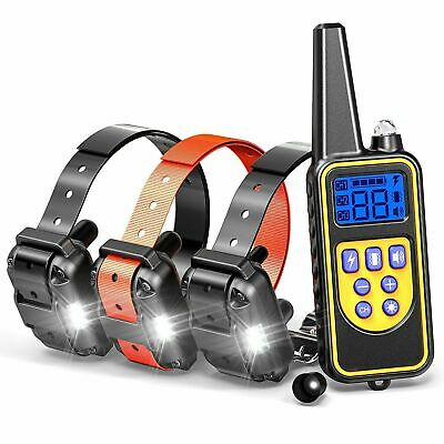 328 Yard Waterproof 2 Dog Shock Training Collar with Remote Rechargeable 100LV