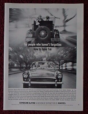 1963 Print Ad Sunbeam Alpine Car Automobile ~ Haven't Forgotten How to Have Fun