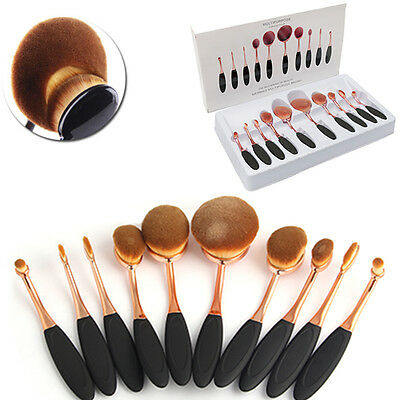 10Pcs Rose Gold Beauty Toothbrush Shaped Oval Cream Puff Makeup Brushes Set
