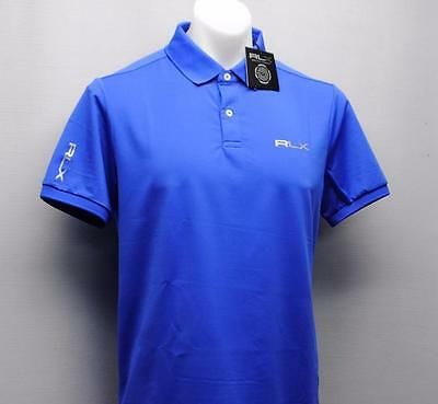 New Mens Ralph Lauren RLX Blue polyester short sleeve golf polo shirt Large