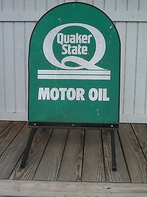 Vintage Quaker State Motor Oil Sidewalk Service Station Sign on Stand