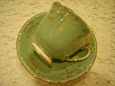 Rare Older Aynsley Tea Cup and Saucer Embossed Blue Green Intricate Gold Details