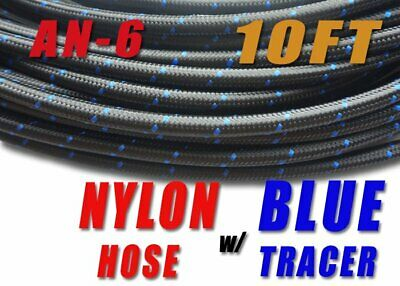 10 Feet Black AN6 Nylon And Stainless Steel Braided Fuel Oil Gas Line Hose -6AN