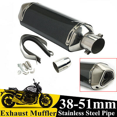 Motorcycle Carbon Fiber Exhaust Tip Muffler Pipes 38-51mm w/ Removable Silencer