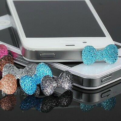 Diamond Bling Bowknot Anti-Dust Ear Cap Jack Plugs Stopper For Iphone 3.5mm Pink