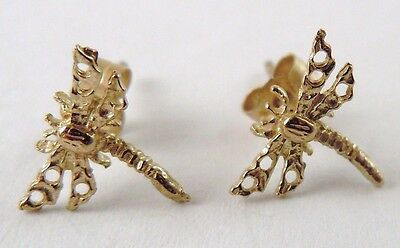 100% Genuine Vintage 9ct.Solid Yellow Gold Filigree Dragonfly Stud Earrings