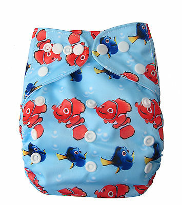 Modern Reusable Washable Baby Cloth Nappy Cloth Diapers  & Insert, Nemo