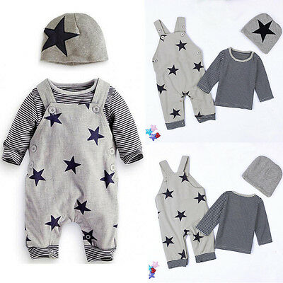 3PCS Newborn Baby Boys Girls Kids Outfits Clothes T-shirt Tops+Bib Pants+Hat Set