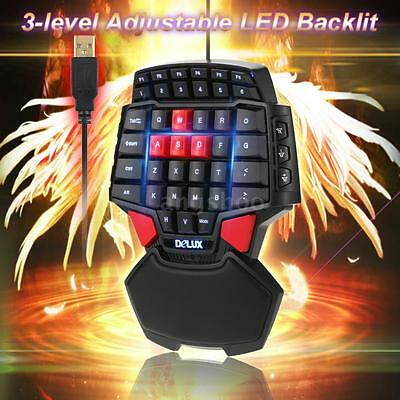 Delux T9 LED Jeux Clavier USB Handed Gaming Wired Keyboard Pr Gamer Desktop PC