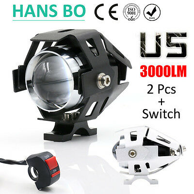 2 PHARES PUISSANTS MOTO LED 3000 LUMENS CE ISO ROCH Light motorcycle powerfull