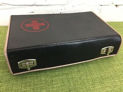 Small Vintage First Aid Box Made In Poland Leather Doctors Case