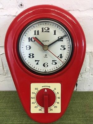 Vintage Kitchen Wall Clock Polish By Mera-Poltik Mid Century Retro Ceramic Clock