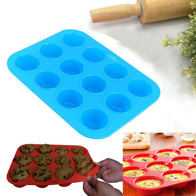 New Round 12 Cup Silicone Mold Pudding Mould Bakeware Cake Pan Baking Tray