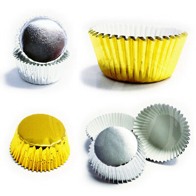 Foil Baking Cases PME - Silver and Gold - Standard or Mini - 50mm 35mm Cupcakes