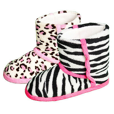 Ladies Womens Animal Print Slippers Boots Booties Zebra Leopard Soft Warm Comfy