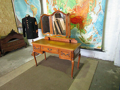 Louis xv French carved oak dressing table with triple mirror,Superb quality