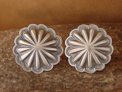 Native American Jewelry Sterling Silver Hand Stamped Concho Post Earrings!