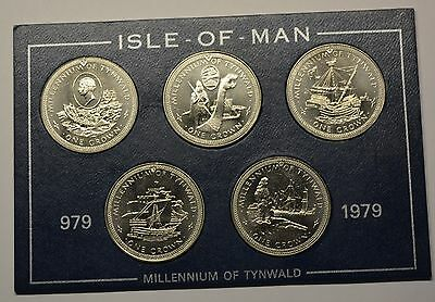 GN951 - Isle of Man 5 x One Crown 1979 Millenium of Tynwald in Blister KM#46-50