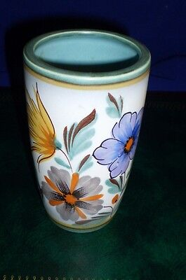 vintage FLORA GOUDA HOLLAND Viola POTTERY VASE Hand Painted Flowers Collectable