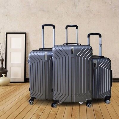 Set of 3 PCS Gray Luggage Travel Bag ABS Trolley Spinner Carry On Suitcase Lock