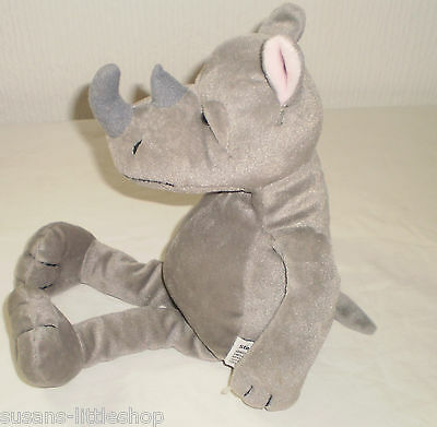 Collectable Russ Berrie Rhino Grey Animal Soft Toy Beanie Rhinoceros UK SELLER
