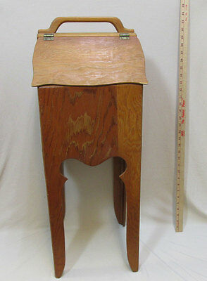 Wood Sewing Box Knitting Standing 2 Door Hinged Entry Removable Tray Handmade