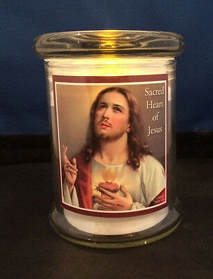 LED Grave Light in Glass Jar Flickering Candle Sacred Heart of Jesus