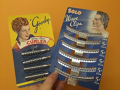 vintage original NEW OLD STOCK lot Solo WAVE CLIPS  & Goody Dry Fast Curlers