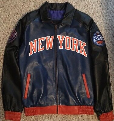 NY Knicks Leather Bomber Jacket L