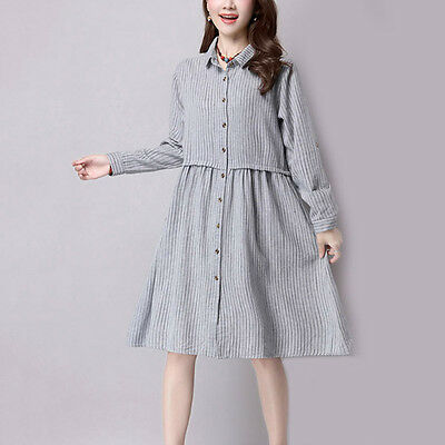Pregnant Women Shirt Dress Long Sleeve Blouse Striped Dresses Maternity Clothes