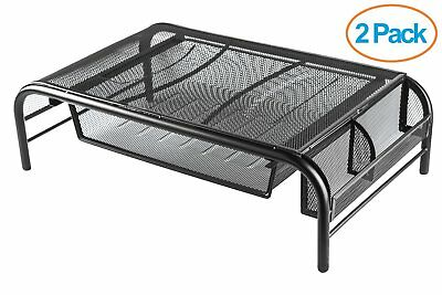 Halter Mesh Metal Monitor Stand with Pull Out Drawer Side Compartments 2 Pack