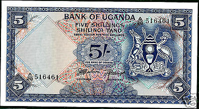 Uganda The Bank Of; P1a ND (1966) 5 Shillings CHoice Crisp UNC