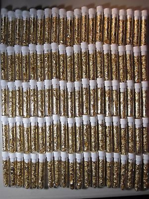 10 Gold Leaf Flakes 3Ml Vials Beautiful Yellow Luster Cap Sealed No Liquid