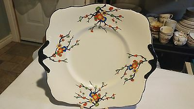 "Very Rare Atlas China / Royal Winton Handpainted Floral Design 9 3/4"" Cake Plate"