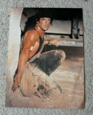 Sylvester Stallone 1980s Rambo Close Up Crouching Movie Magazine  Poster VG