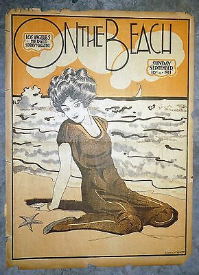 """1910 Chicago Tribune Sunday Newspaper Magazine Page Cover - """"On The Beach"""""""