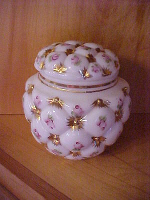 Cracker or Biscuit Jar Hand Painted Pink & Gold Flowers on White