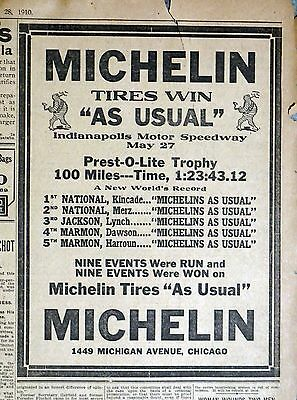 1910 Michelin Newspaper Ad - Indianapolis Motor Speedway Prest-O-Lite Trophy