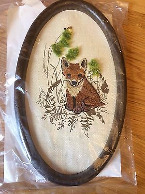 Beautiful FOX Crewel Embroidery canvas with frame TO BE FINISHED