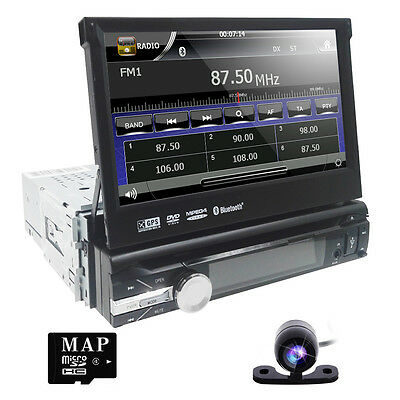 "Camera + Anti-Theft 7"" Single DIN Car DVD Player Radio Stereo R BT Touch Screen"