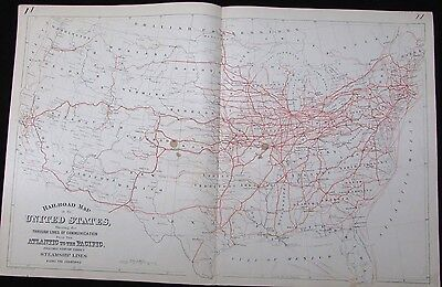 Railroad map of United States 1881 Mitchell antique w/ western lines steamships
