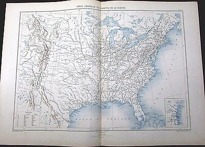 General United States Map of Civil War c.1880's rare large nice antique map