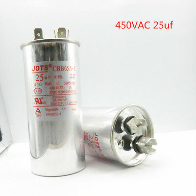 CBB65 Air Conditioner Motor Run Capacitor 25mfd 25uf 450VAC Round Metallized