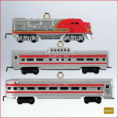 2011 Hallmark LIONEL TRAINS Miniature Ornament set/3 SANTA FE SUPER CHIEF